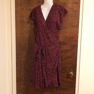Aerie burgundy floral print wrap dress